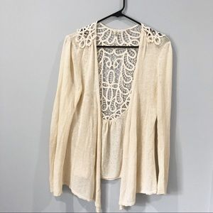 Anthropologie Knitted and Knotted creme cardigan